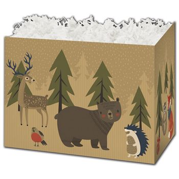 Woodland Forest Gift Basket Boxes, 10 1/4 x 6 x 7 1/2