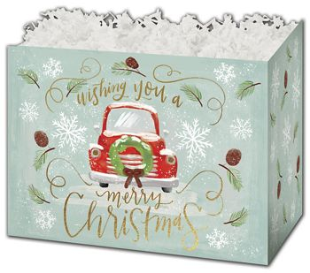 Christmas Wishes Gift Basket Boxes, 10 1/4 x 6 x 7 1/2