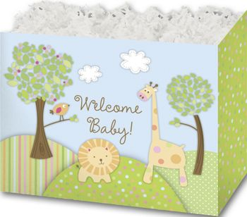 Welcome Baby Gift Basket Boxes, 10 1/4 x 6 x 7 1/2