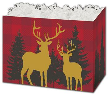 Woodland Plaid Gift Basket Boxes, 10 1/4 x 6 x 7 1/2