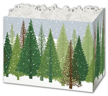 Winter Forest Gift Basket Boxes, 10 1/4 x 6 x 7 1/2