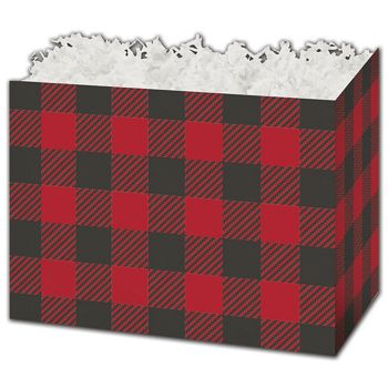Buffalo Plaid Gift Basket Boxes, 6 3/4 x 4 x 5""