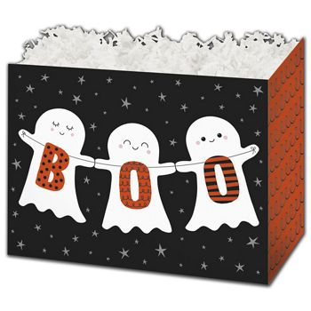 Halloween Boo Gift Basket Boxes, 6 3/4 x 4 x 5