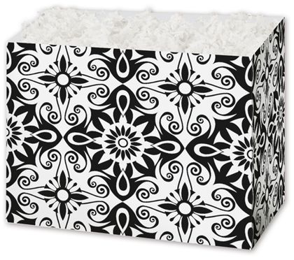 Black & White Medallions Gift Basket Boxes, 6 3/4 x 4 x 5""