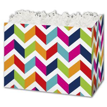 Chevron Chic Gift Basket Boxes, 6 3/4 x 4 x 5