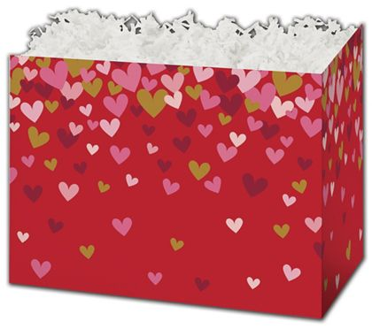 "Confetti Hearts Gift Basket Boxes, 6 3/4 x 4 x 5"""