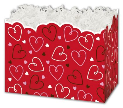 Doodle Hearts Gift Basket Boxes, 6 3/4 x 4 x 5""