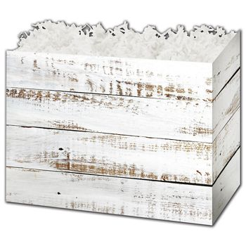 Distressed White Wood Gift Basket Boxes, 6 3/4 x 4 x 5
