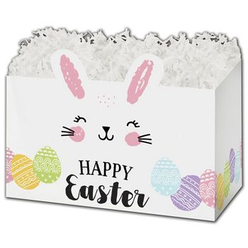 Happy Easter Bunny Gift Basket Boxes, 6 3/4 x 4 x 5