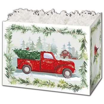 Farmhouse Christmas Gift Basket Boxes, 6 3/4 x 4 x 5