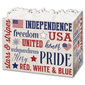 Patriotic Expressions Gift Basket Boxes, 6 3/4 x 4 x 5