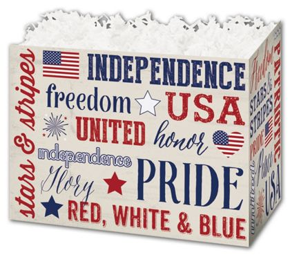 """Patriotic Expressions Gift Basket Boxes, 6 3/4 x 4 x 5"""""""