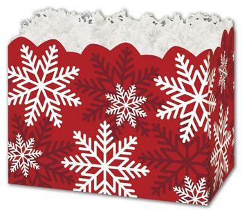Red & White Snowflakes Gift Basket Boxes, 6 3/4 x 4 x 5