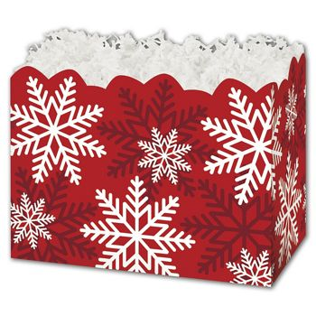 Red & White Snowflakes Gift Basket Boxes, 6 3/4 x 4 x 5