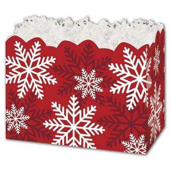 """Red & White Snowflakes Gift Basket Boxes, 6 3/4 x 4 x 5"""""""