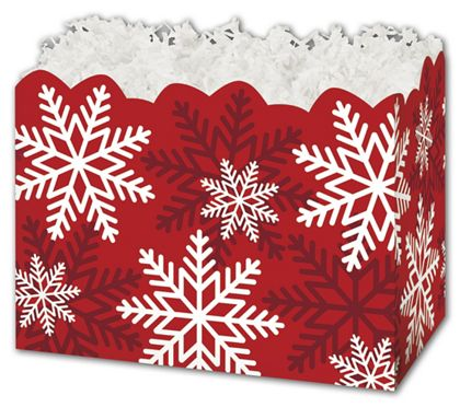 Red & White Snowflakes Gift Basket Boxes, 6 3/4 x 4 x 5""