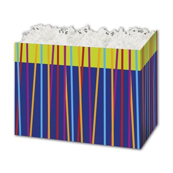 Festive Stripes Gift Basket Boxes, 6 3/4 x 4 x 5