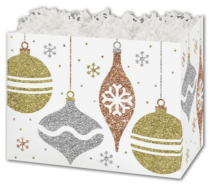 Glittering Ornaments Gift Basket Boxes, 6 3/4 x 4 x 5""