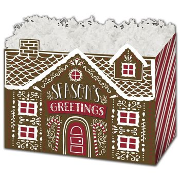 Gingerbread House Gift Basket Boxes, 6 3/4 x 4 x 5