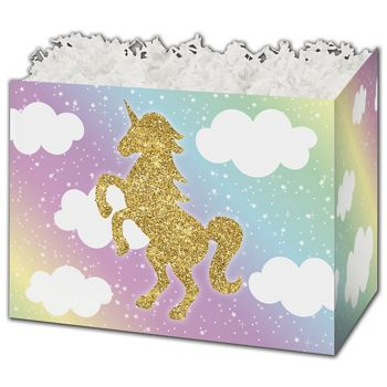 Glitter Unicorn Gift Basket Boxes, 6 3/4 x 4 x 5""