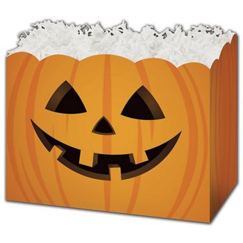 Halloween Pumpkin Gift Basket Boxes, 6 3/4 x 4 x 5