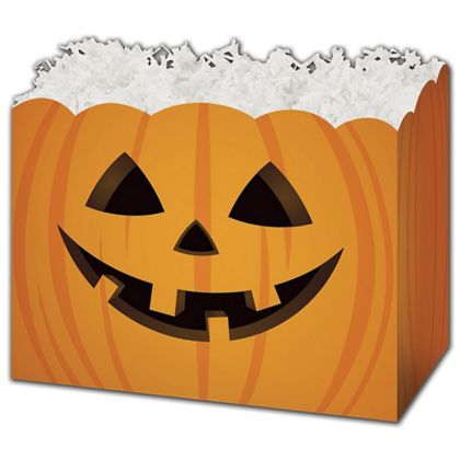 "Halloween Pumpkin Gift Basket Boxes, 6 3/4 x 4 x 5"""