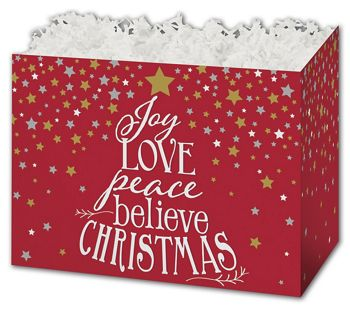 Holiday Spirit Gift Basket Boxes, 6 3/4 x 4 x 5