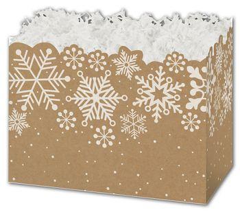 Kraft Snowflakes Gift Basket Boxes, 6 3/4 x 4 x 5