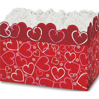 Layered Hearts Gift Basket Boxes, 6 3/4 x 4 x 5