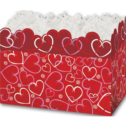 Layered Hearts Gift Basket Boxes, 6 3/4 x 4 x 5""