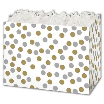 Metallic Dots Gift Basket Boxes, 6 3/4 x 4 x 5