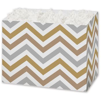 Metallic Chevron Gift Basket Boxes, 6 3/4 x 4 x 5