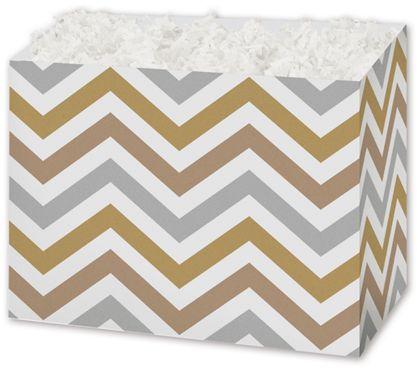 """Metallic Chevron Gift Basket Boxes, 6 3/4 x 4 x 5"""""""