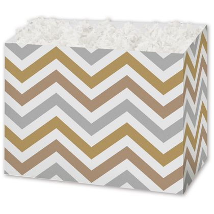 Metallic Chevron Gift Basket Boxes, 6 3/4 x 4 x 5""