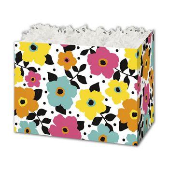 Polka Dot Petals Gift Basket Boxes, 6 3/4 x 4 x 5