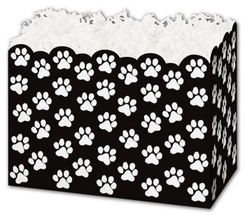 Black Paw Print Gift Basket Boxes, 6 3/4 x 4 x 5