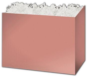 Metallic Rose Gold Gift Basket Boxes, 6 3/4 x 4 x 5