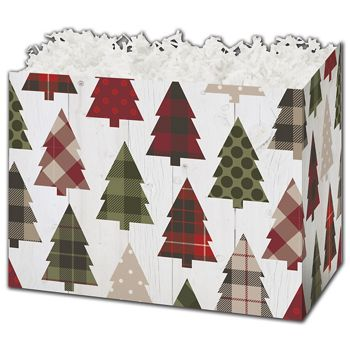 Rustic Trees Gift Basket Boxes, 6 3/4 x 4 x 5