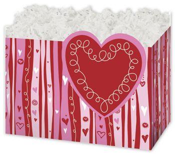 Swirly Hearts Gift Basket Boxes, 6 3/4 x 4 x 5