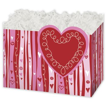 Swirly Hearts Gift Basket Boxes, 6 3/4 x 4 x 5