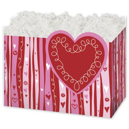 Swirly Hearts Gift Basket Boxes, 6 3/4 x 4 x 5""