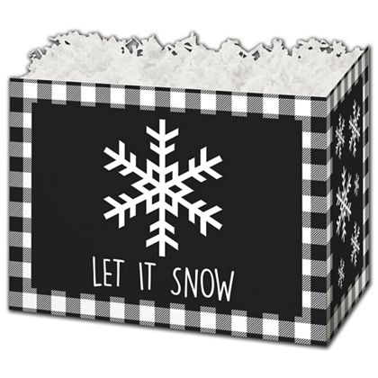 Let it Snow Plaid Gift Basket Boxes, 6 3/4 x 4 x 5""