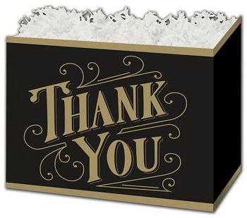 Black & Gold Thanks Gift Basket Boxes, 6 3/4 x 4 x 5