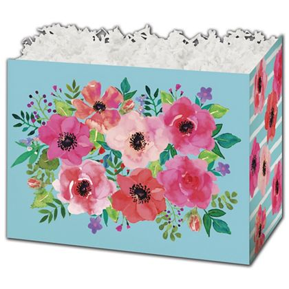 """Watercolor Flowers Gift Basket Boxes, 6 3/4 x 4 x 5"""""""