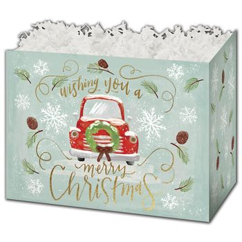 Christmas Wishes Gift Basket Boxes, 6 3/4 x 4 x 5""