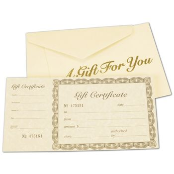 Ivory Gift Certificates, Gold, 8 3/8 x 4 1/8""