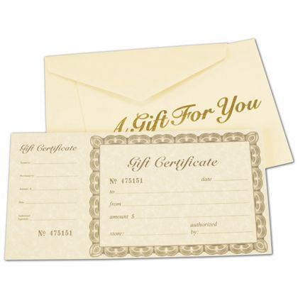 """Ivory Gift Certificates, Gold, 8 3/8 x 4 1/8"""""""