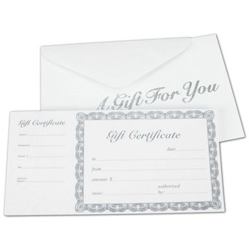 Off-White Gift Certificates, Silver, 8 3/8 x 4 1/8