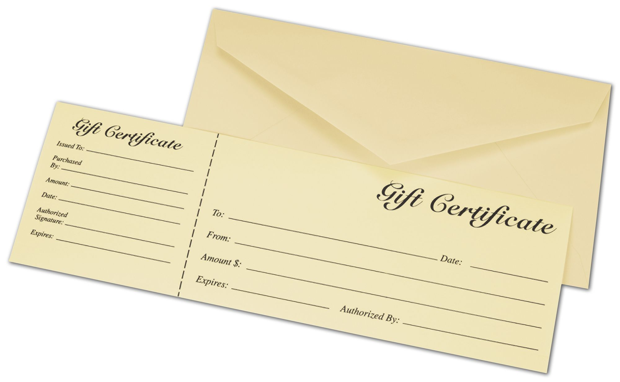 ivory gift certificates w envelopes 9 3 8 x 3 1 8 bags and bows