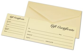 Ivory Gift Certificates w/ Envelopes, 9 3/8 x 3 1/8